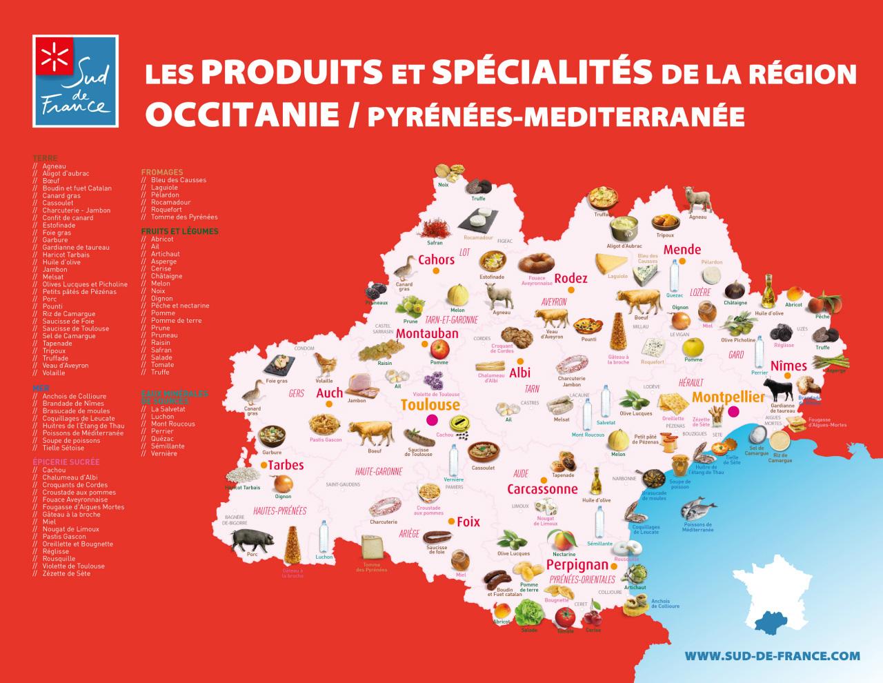 Carte géographique des produits de la marque Sud de France