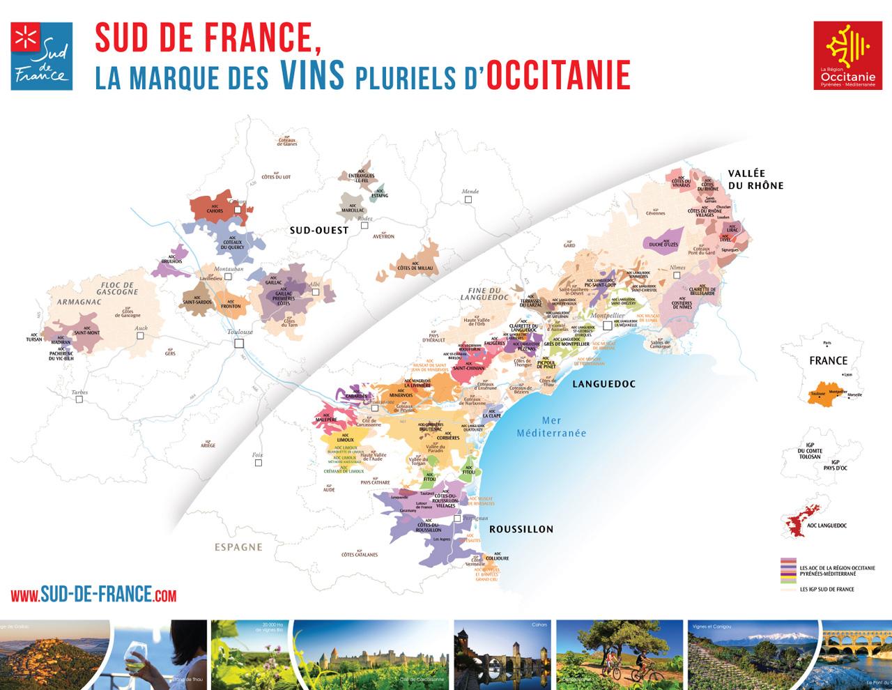 Carte géographique des vins de la marque Sud de France